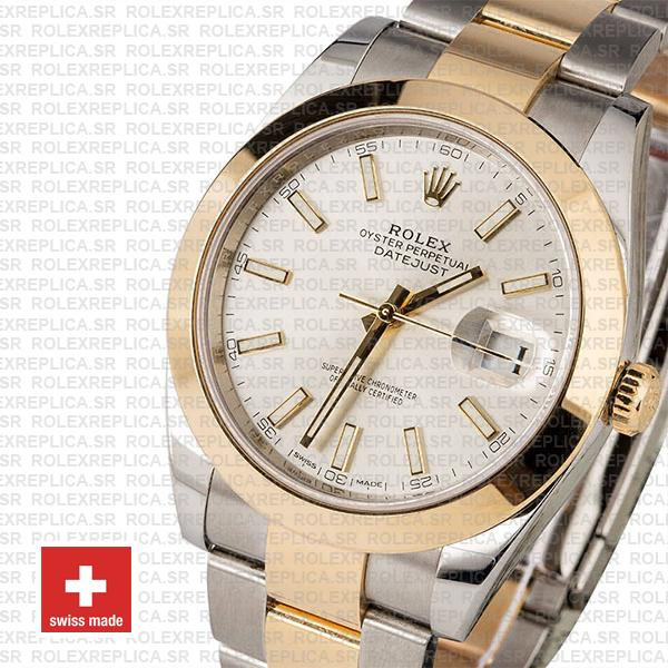 Rolex Datejust 41 18k Yellow Gold Two-Tone, 904L Steel Smooth Bezel Silver Dial Stick Markers