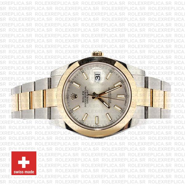 Rolex Datejust 41 18k Yellow Gold Two-Tone, 904L Steel Smooth Bezel Silver Dial
