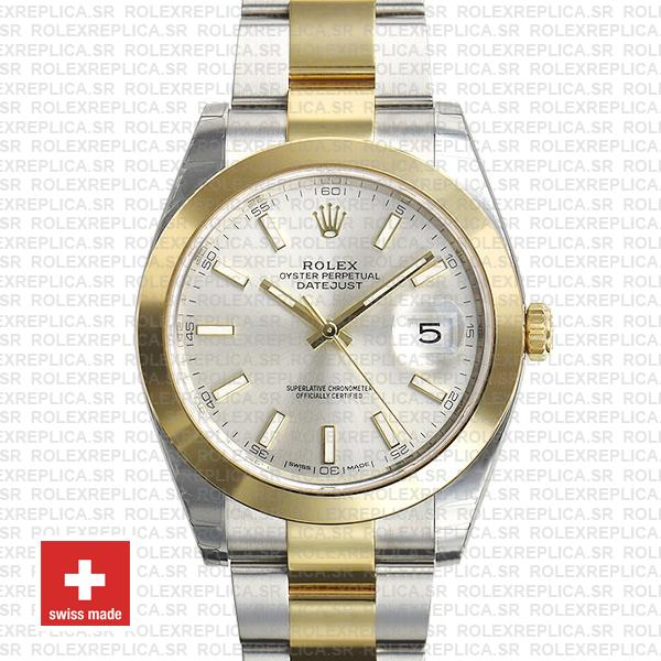 Rolex Datejust 41 Silver Dial Two-Tone Watch 41mm