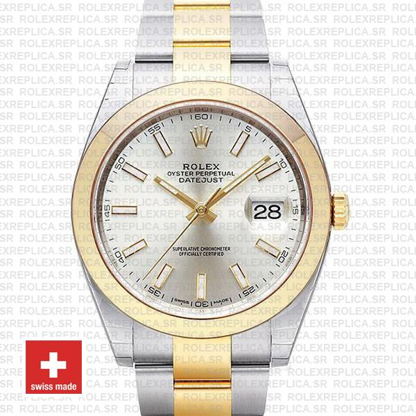 Rolex Datejust 41 Silver Dial Two-Tone Watch | Rolex Replica