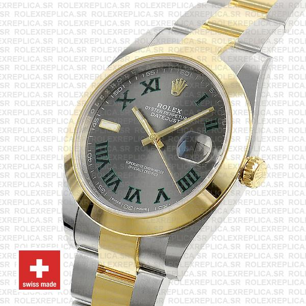 Rolex Datejust 41 Oyster 2 Tone 18k Yellow Gold Smooth Bezel Slate Grey Dial Roman Markers 126303 Swiss Replica