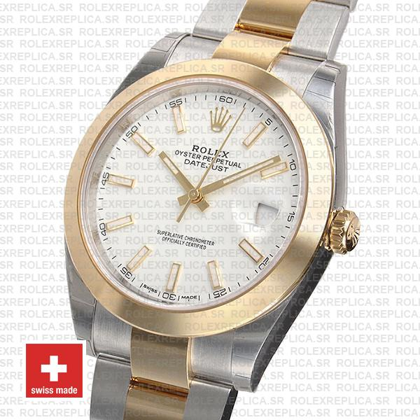 Rolex Datejust 41 Oyster 2 Tone 18k Yellow Gold Smooth Bezel White Dial Stick Markers Rolex Replica Watch