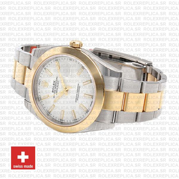 Rolex Datejust 41 Oyster 2 Tone 18k Yellow Gold Smooth Bezel White Dial Stick Markers Replica Watch