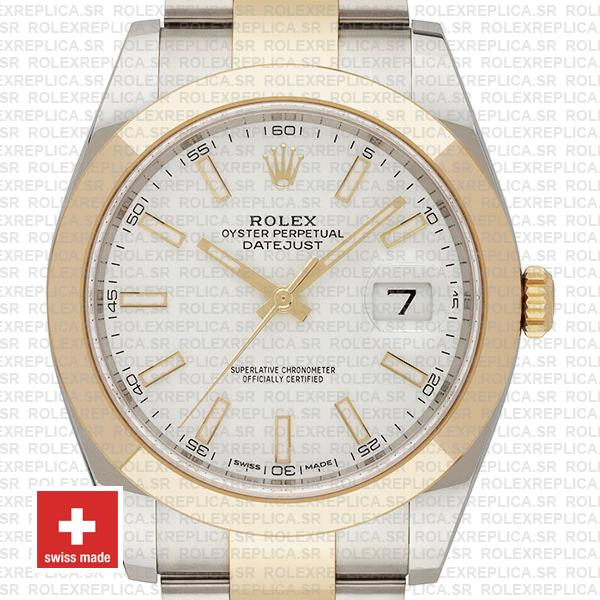 Rolex Datejust 41 Oyster 2 Tone 18k Yellow Gold Smooth Bezel White Dial Stick Markers 126303 Swiss Replica