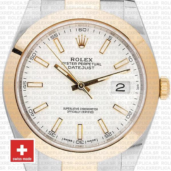 Rolex Datejust 41 Two Tone White Dial Swiss Replica Watch