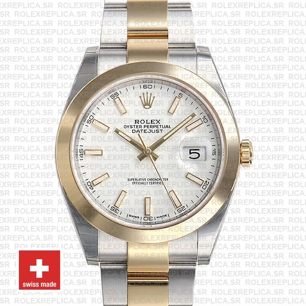 Rolex Datejust 41 Oyster 2 Tone 18k Yellow Gold Smooth Bezel White Dial Stick Markers Replica