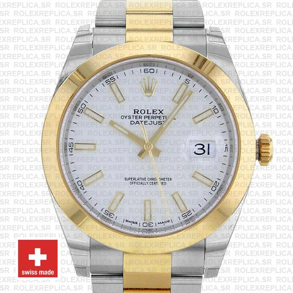 Rolex Datejust 41 Oyster 2 Tone 18k Yellow Gold Smooth Bezel White Dial Stick Markers