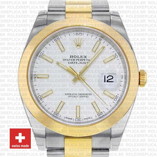 Rolex Datejust 41 Oyster 2 Tone 18k Yellow Gold Smooth Bezel