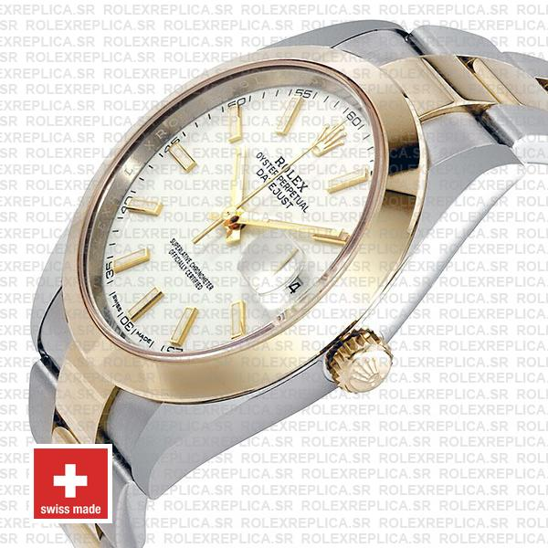 Rolex Oyster Perpetual Datejust Two-Tone 18k Yellow Gold 41mm White Dial 904L Stainless Steel Replica