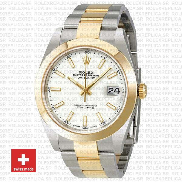 Rolex Oyster Perpetual Datejust Two-Tone 18k Yellow Gold 41mm White Dial 904L Stainless Steel