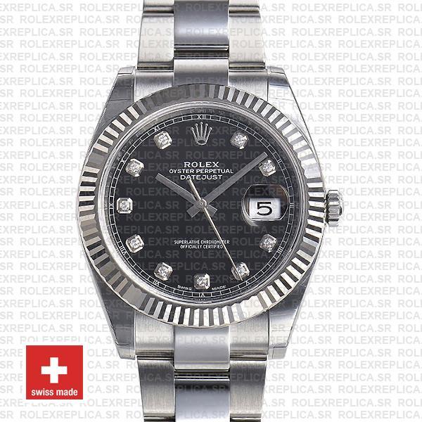 Rolex Datejust 41 Oyster 904l Steel 18k W Gold Fluted Bezel Black Dial Diamond Markers 126334 Swiss Replica