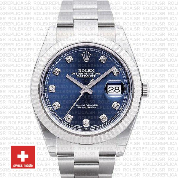 Rolex Datejust 41 Oyster 904l Steel 18k W Gold Fluted Bezel Blue Dial Diamond Markers 126334 Swiss Replica