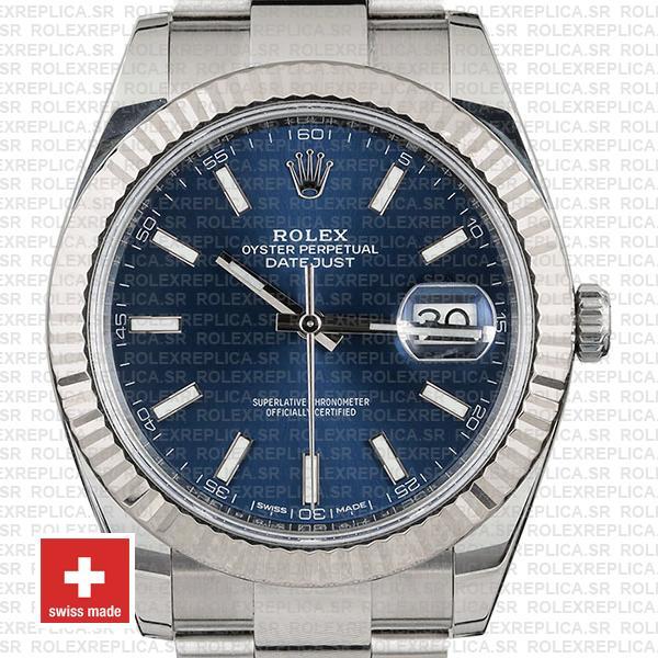 Rolex Datejust 41 Oyster 904l Steel 18k W Gold Fluted Bezel Blue Dial Stick Markers 126334 Swiss Replica