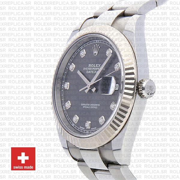 Rolex Datejust 41 904L Stainless Steel Dark Rhodium Grey Diamond Dial 18k White Gold Fluted Bezel 41mm Replica Watch
