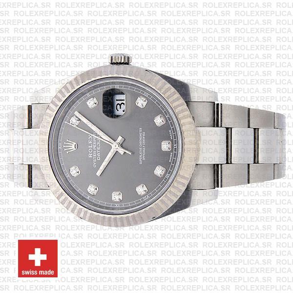 Rolex Datejust 41 904L Stainless Steel Dark Rhodium Grey Diamond Dial 18k White Gold Fluted Bezel 41mm Watch