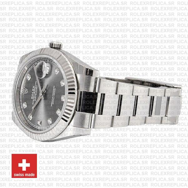 Rolex Datejust 41 904L Stainless Steel Dark Rhodium Grey Diamond Dial 18k White Gold Fluted Bezel 41mm