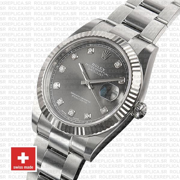 Rolex Datejust 41 904L Stainless Steel Dark Rhodium Grey Diamond Dial 18k White Gold Fluted Bezel
