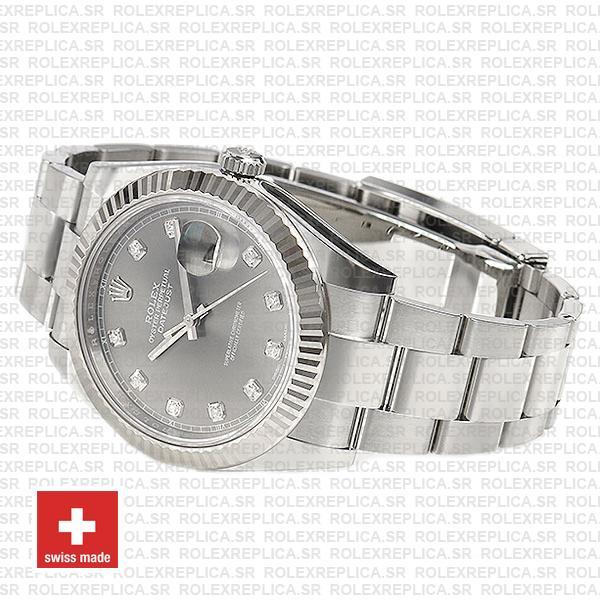 Rolex Datejust 41 904L Stainless Steel Dark Rhodium Grey Diamond Dial 18k White Gold