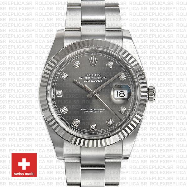 Rolex Datejust 41 904L Stainless Steel Dark Rhodium Grey Diamond Dial
