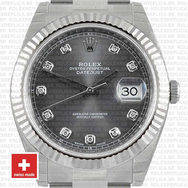 Rolex Datejust 41mm Dark Rhodium Grey Diamond Dial Replica Watch