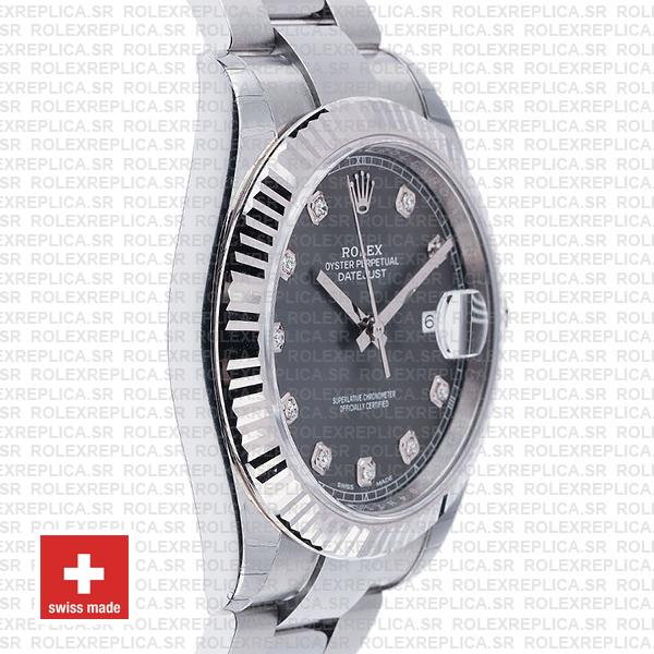 Rolex Datejust 41mm Dark Rhodium Grey Diamond Dial Swiss Replica Watch