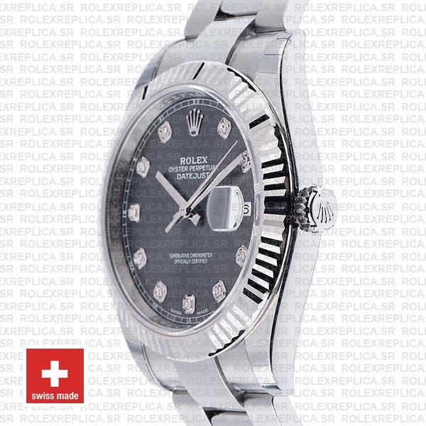Rolex Datejust 41mm Dark Rhodium Grey Diamond Dial Swiss Replica