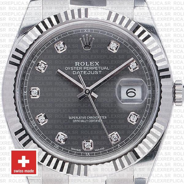 Rolex Datejust 41mm Dark Rhodium Grey Diamond Dial Replica