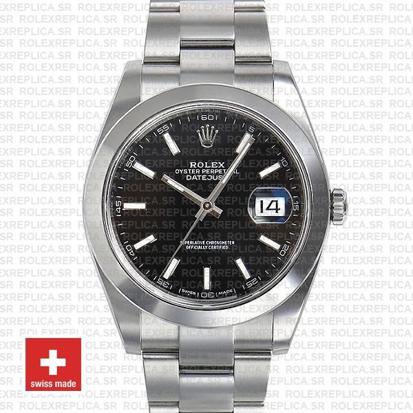 Rolex Datejust 41 904L Steel Black Dial Stick Markers Smooth Bezel 41mm Swiss Replica