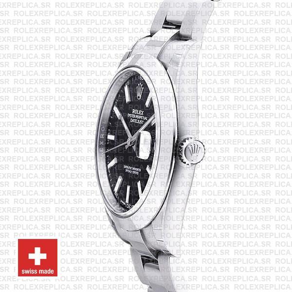 Rolex Datejust 41 904L Steel Black Dial Stick Markers Smooth Bezel 41mm