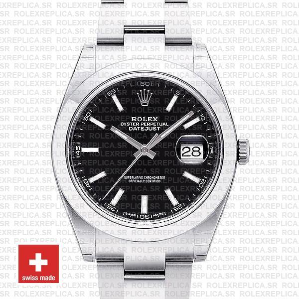 Rolex Datejust 41 Black Dial Swiss Replica Watch | RolexReplica