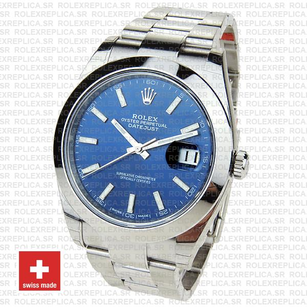 Rolex Datejust 41mm 904L Steel Stainless Blue Dial Stick Markers Smooth Bezel Oyster Bracelet Swiss Replica Watch