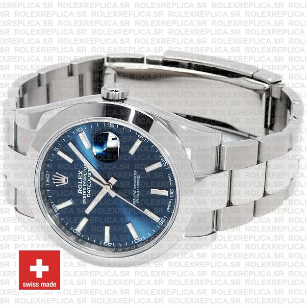 Rolex Datejust 41mm 904L Steel Stainless Blue Dial Stick Markers Smooth Bezel Oyster Bracelet Swiss Replica
