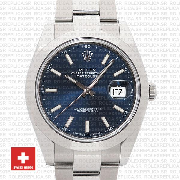 Rolex Datejust 41mm 904L Steel Stainless Blue Dial Stick Markers Smooth Bezel Oyster Bracelet Replica
