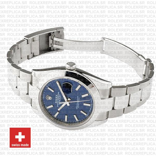 Rolex Datejust 41mm 904L Steel Stainless Blue Dial Stick Markers Smooth Bezel Oyster Bracelet
