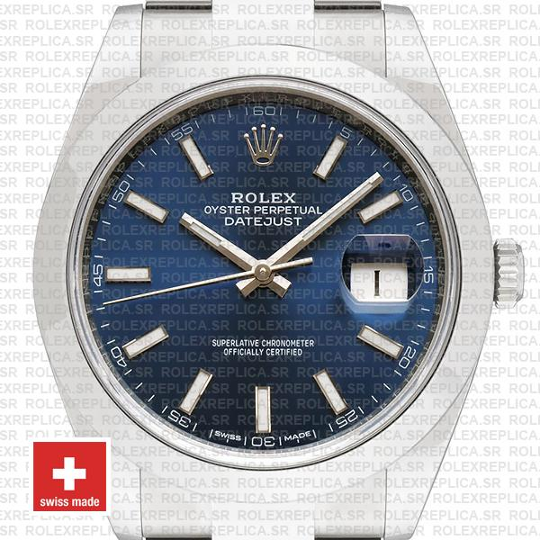 Rolex Datejust 41mm 904L Steel Stainless Blue Dial Stick Markers Smooth Bezel