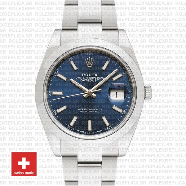Rolex Datejust 41mm 904L Steel Stainless Blue Dial Stick Markers