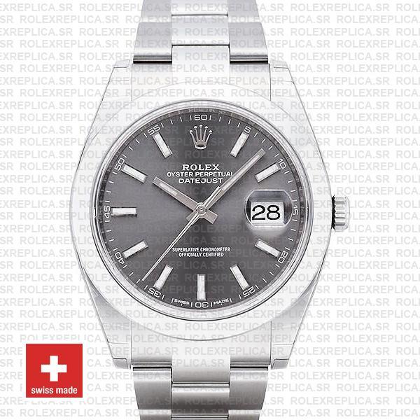 Rolex Datejust 41mm Grey Dial Oyster | Swiss Replica Watch
