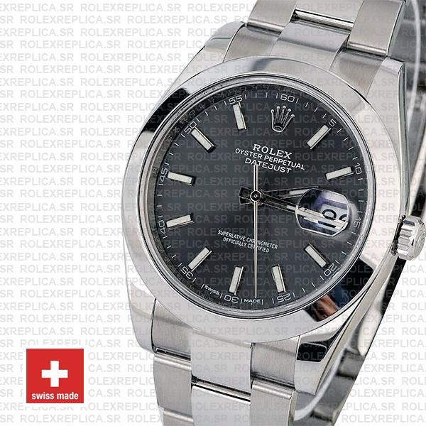 Rolex Datejust 41 904L Steel Dark Rhodium Grey Dial Smooth Bezel Oyster Bracelet Rolex Replica Watch