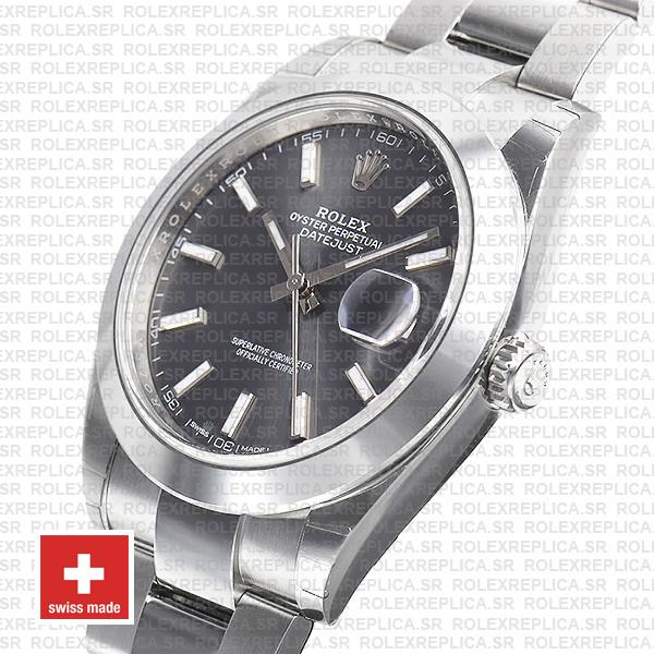 Rolex Datejust 41 Oyster Steel Smooth Bezel Dark Rhodium Grey Dial Stick Markers 126300