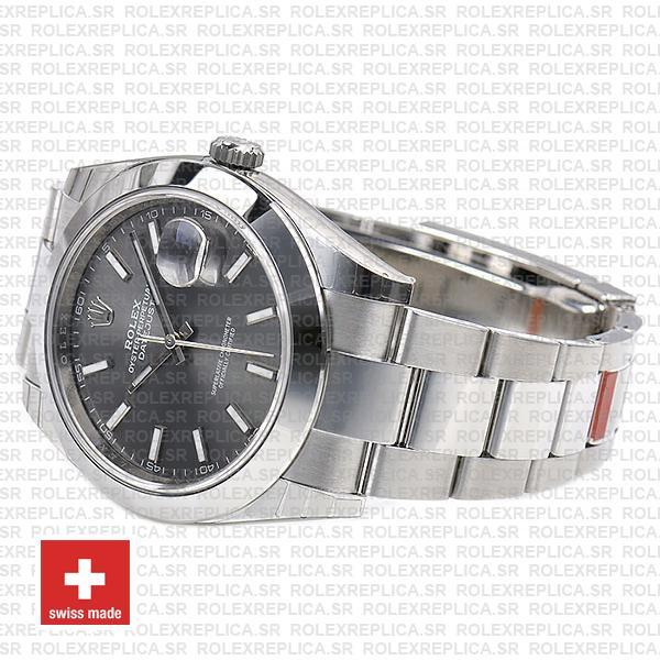 Rolex Datejust 41 904L Steel Dark Rhodium Grey Dial Smooth Bezel Oyster Bracelet Watch