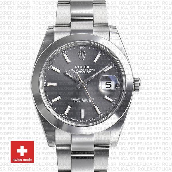 Rolex Datejust 41 904L Steel Dark Rhodium Grey Dial Smooth Bezel Oyster Bracelet