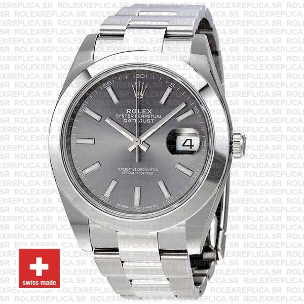 Rolex Datejust 41 904L Steel Dark Rhodium Grey Dial Smooth Bezel