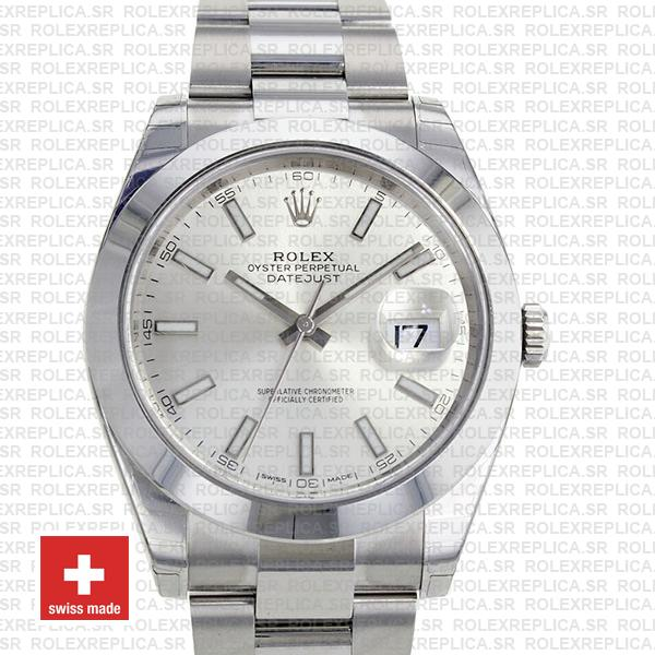 Rolex Datejust Stainless Steel Silver Dial 41mm Smooth & Fixed Bezel Replica Watch