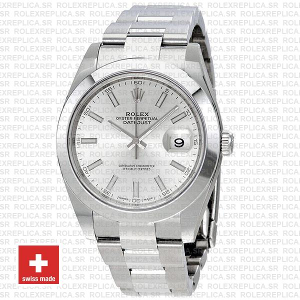 Rolex Datejust Stainless Steel Silver Dial 41mm Smooth & Fixed Bezel
