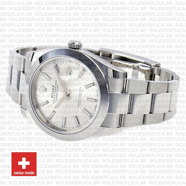 Rolex Datejust Stainless Steel Silver Dial 41mm Rolex Replica Watch
