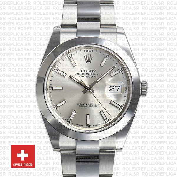 Rolex Datejust 41 Silver Dial Oyster Bracelet Replica
