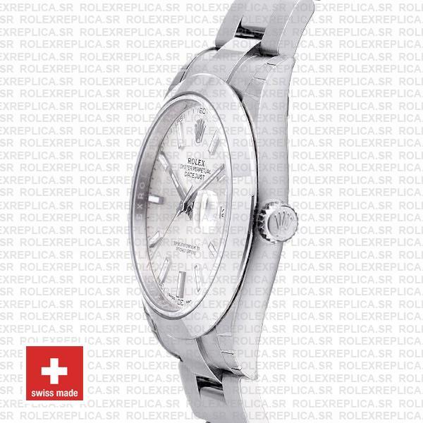 Rolex Datejust 41 Silver Dial Oyster Bracelet Swiss Replica