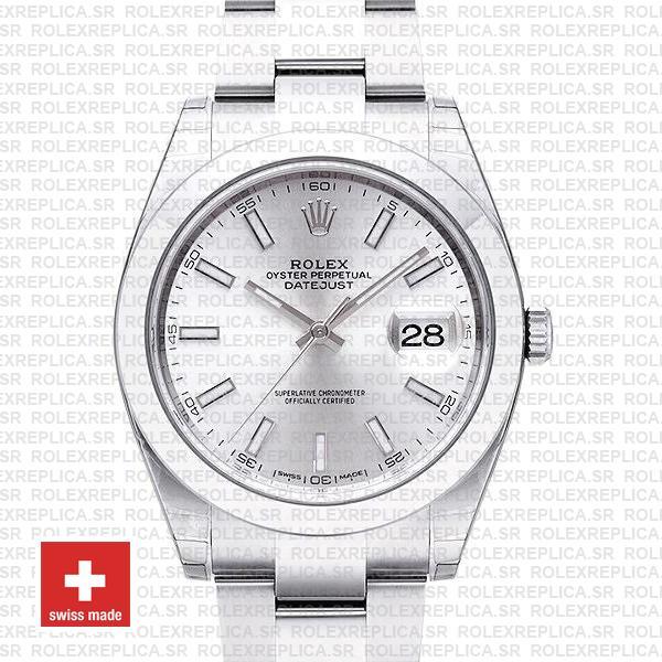 Rolex Datejust 41 Silver Dial Oyster Bracelet | Replica Watch