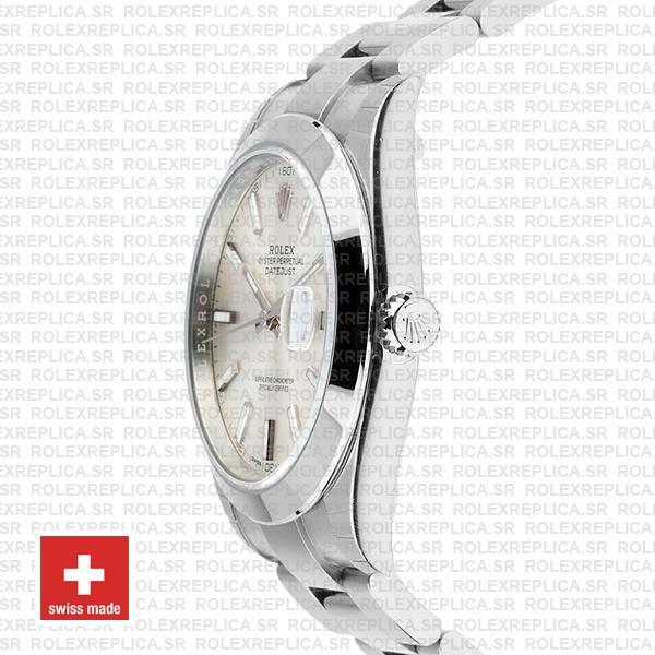 Rolex Datejust 41 Silver Dial Oyster Bracelet Swiss Replica Watch