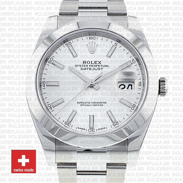Rolex Datejust 41mm Stainless Steel White Dial with Oyster Bracelet Smooth Bezel Replica Watch